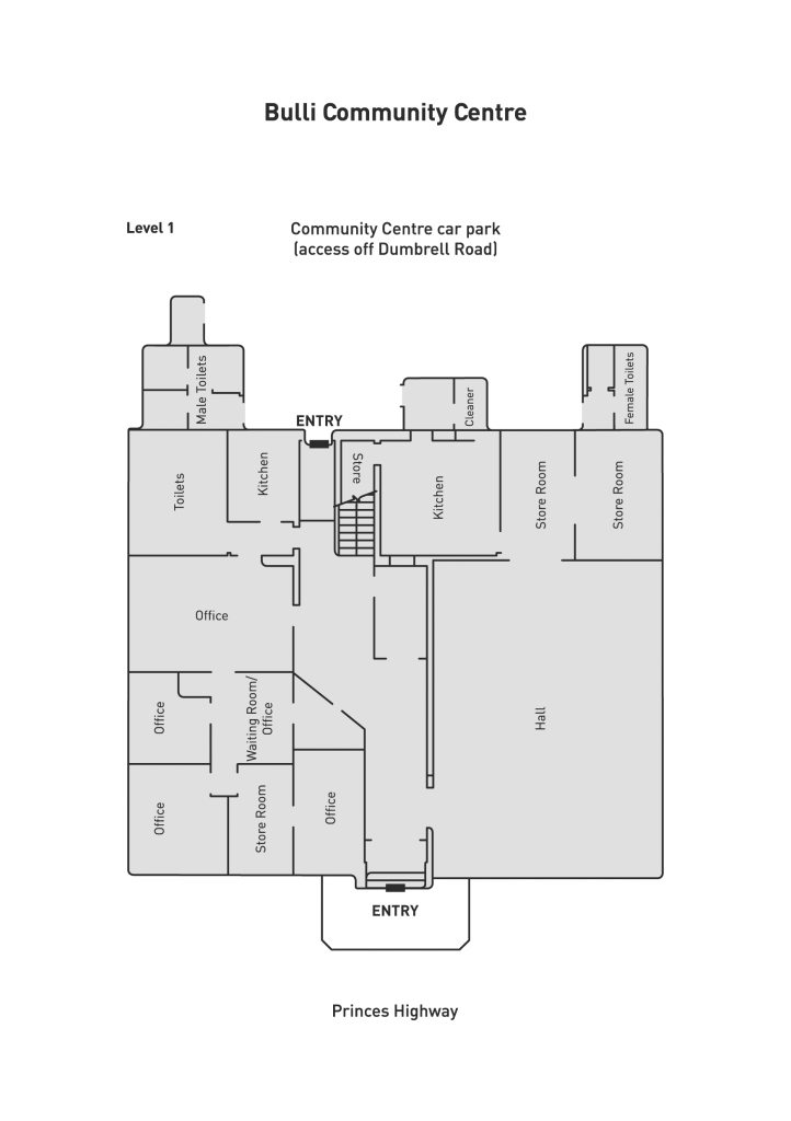 Bulli Community Centre level 1 floor plan venue hire
