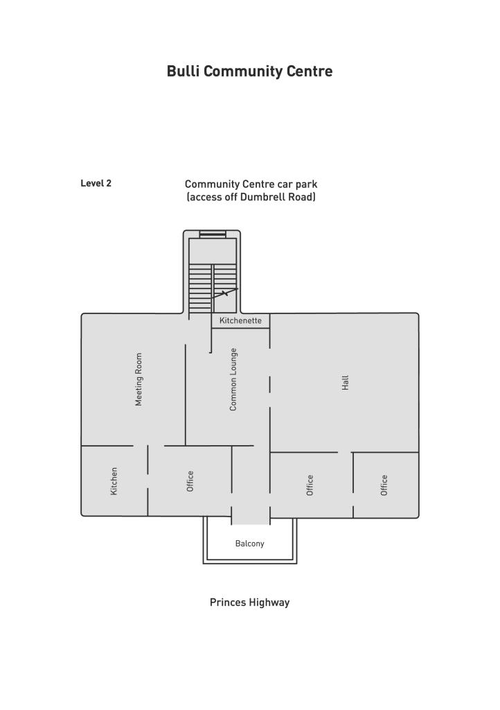 Bulli Community Centre level 2 floor plan venue hire