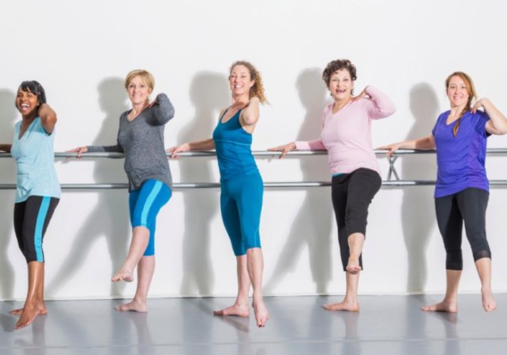 Over 50s dance classes at the Bulli Community Centre. Women dancing